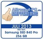 Allround-PC Empfehlung Samsung SSD 840 Pro 256 GB