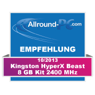 Kingston-HyperX-Beast-Empfehlung-Award