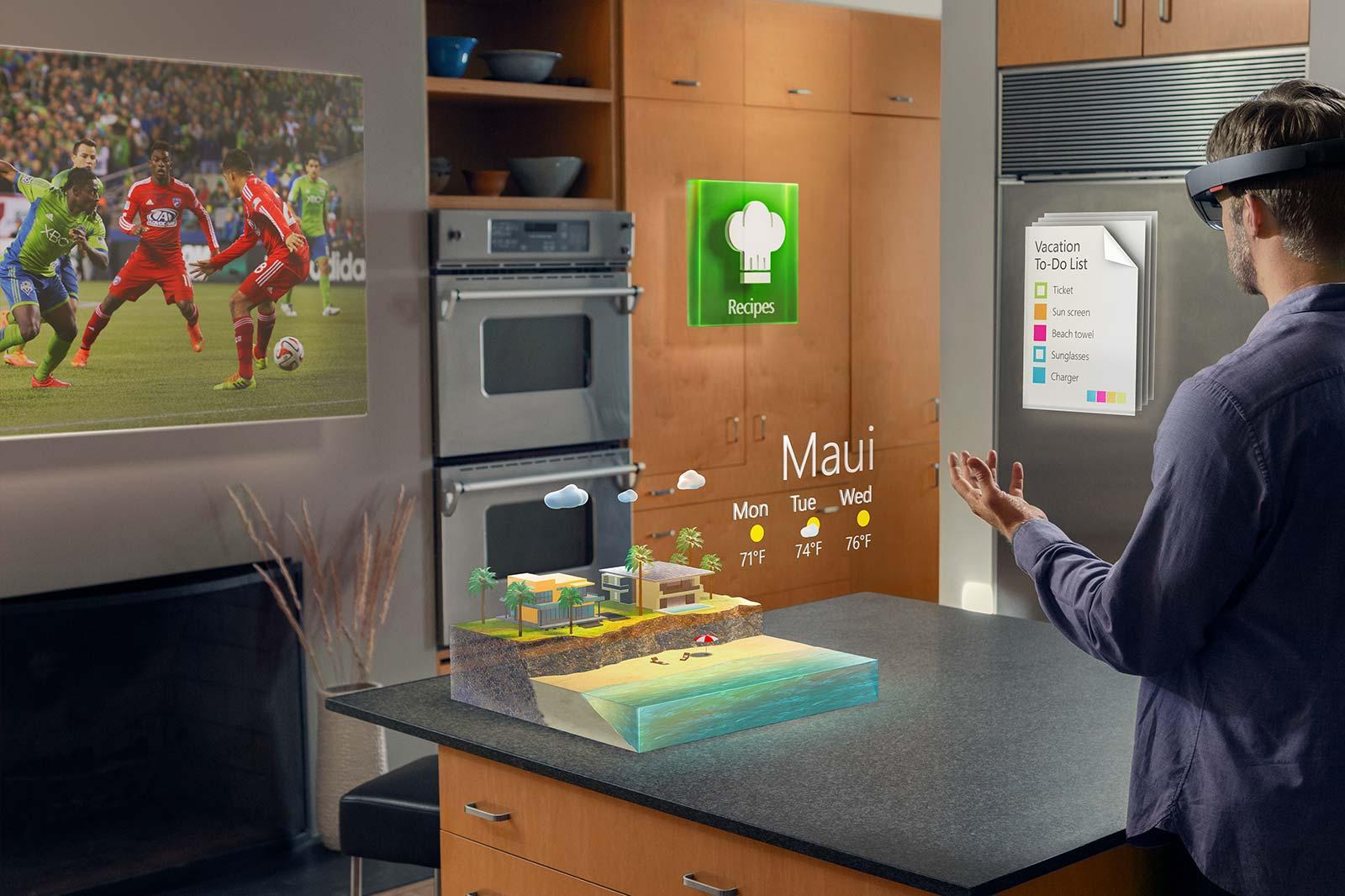 microsoft hololens projiziert virtuelle objekte ins wohnzimmer allround. Black Bedroom Furniture Sets. Home Design Ideas