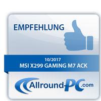 MSI X299 Gaming M7 ACK Award