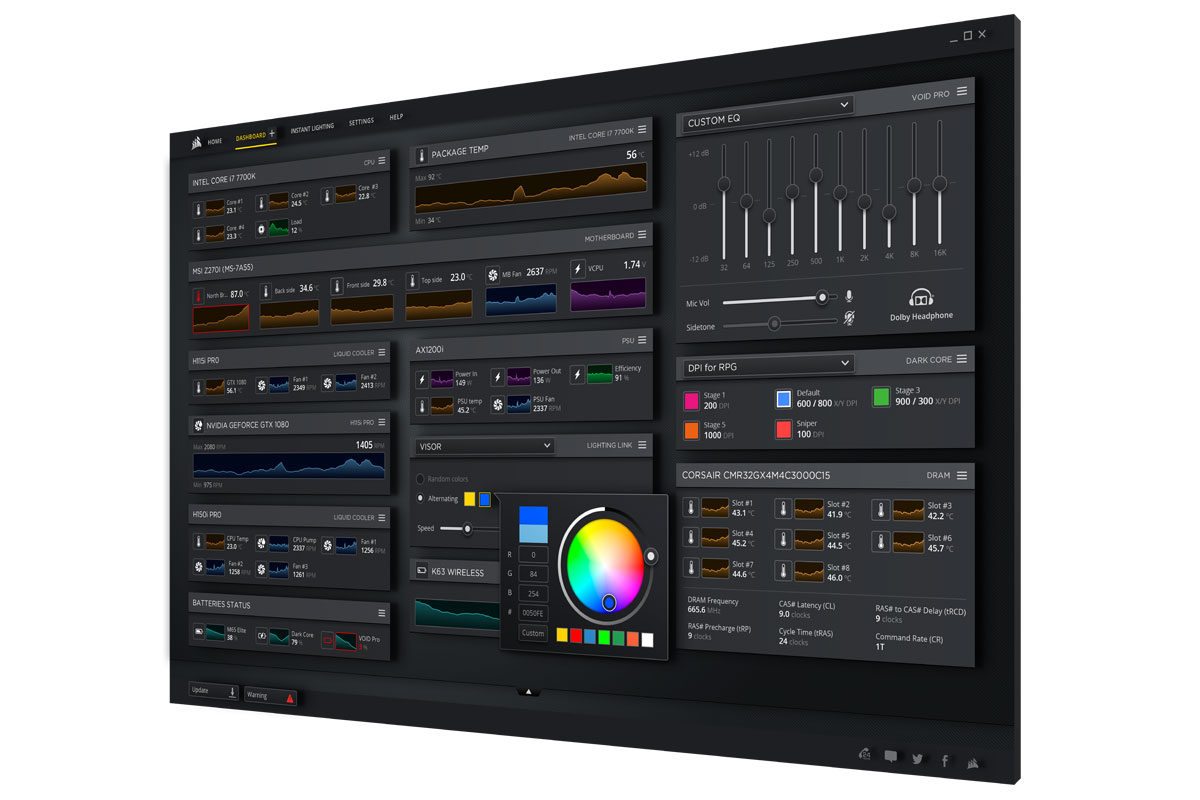 Corsair iCUE Software Dashboard