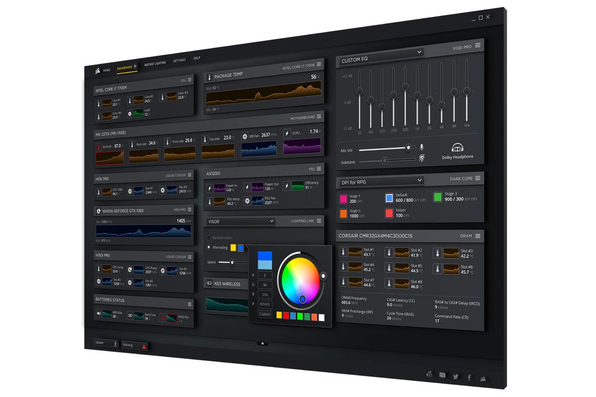 Corsair iCUE Software Dashboard