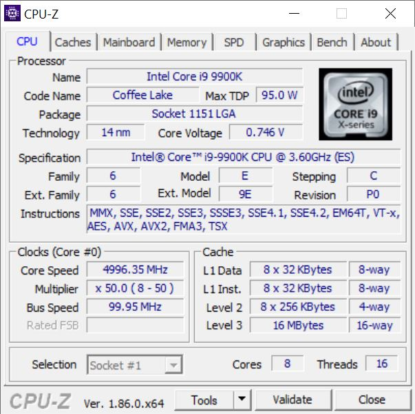 Intel Core i9-9900K CPU-Z
