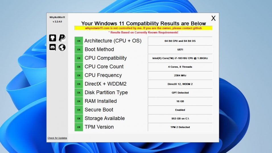 WhyNotWin11 Tool for Windows 11 Update.